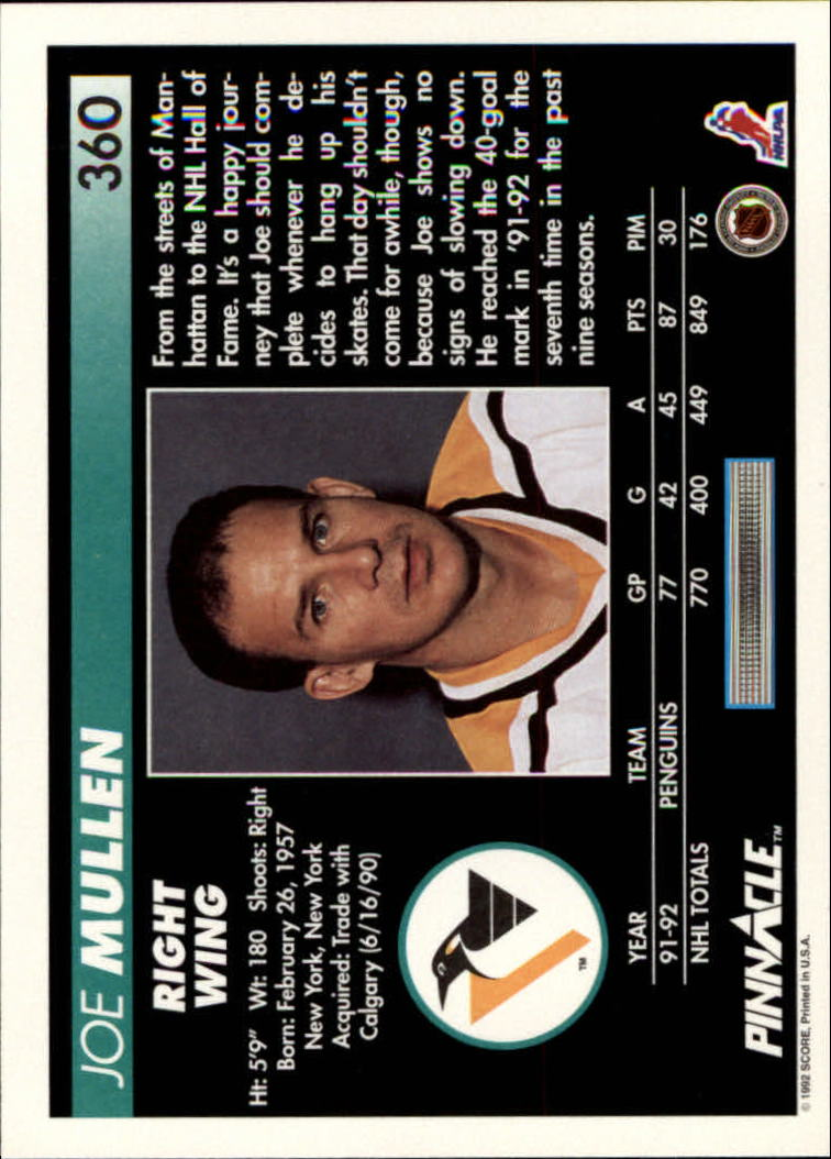 1992-93 Pinnacle #360 Joe Mullen back image