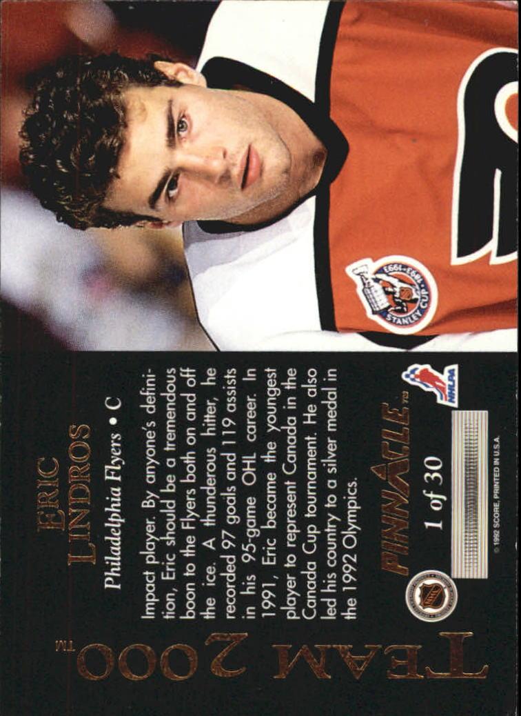 1992-93 Pinnacle Team 2000 #1 Eric Lindros back image