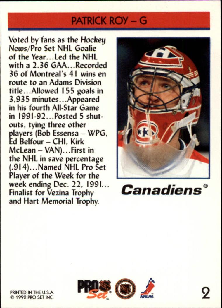 1992-93 Pro Set #2 Patrick Roy THN-POY back image
