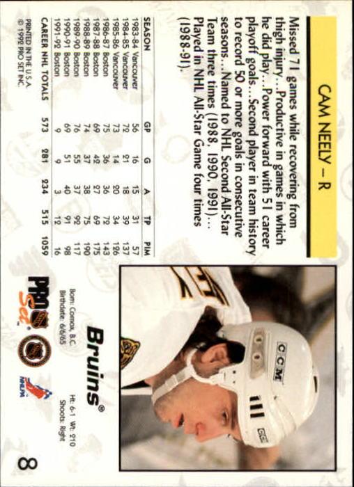 1992-93 Pro Set #8 Cam Neely back image