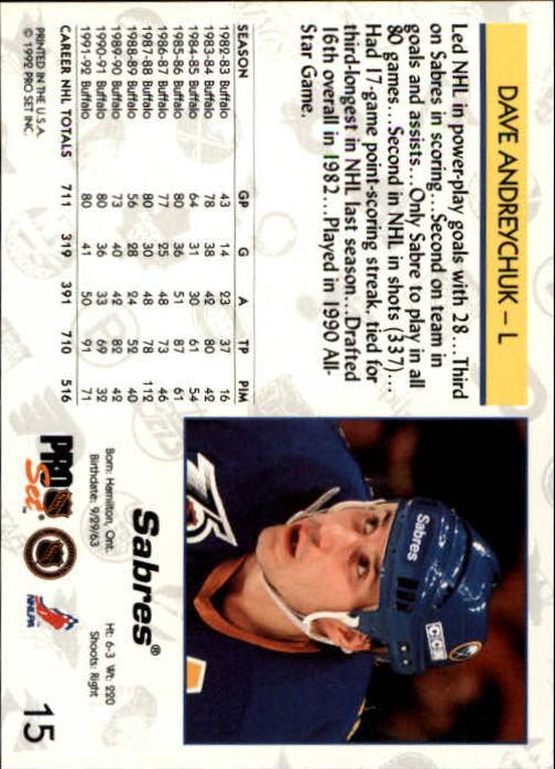 1992-93 Pro Set #15 Dave Andreychuk back image