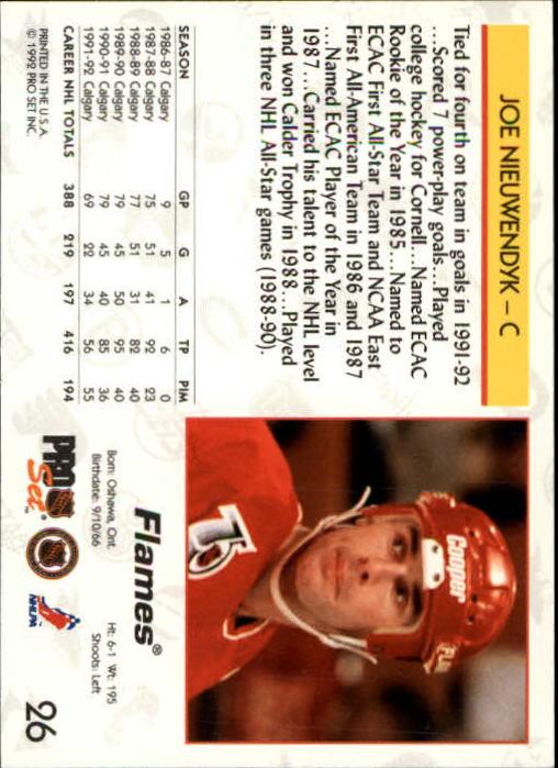 1992-93 Pro Set #26 Joe Nieuwendyk back image