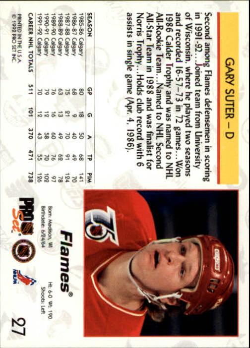 1992-93 Pro Set #27 Gary Suter back image