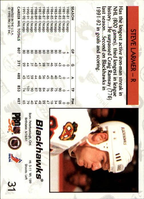 1992-93 Pro Set #31 Steve Larmer back image