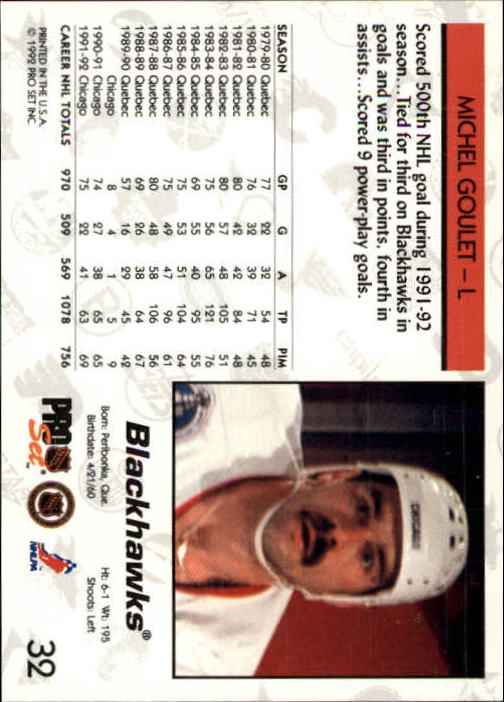 1992-93 Pro Set #32 Michel Goulet back image