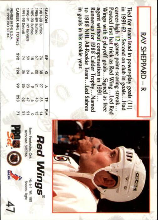 1992-93 Pro Set #47 Ray Sheppard back image