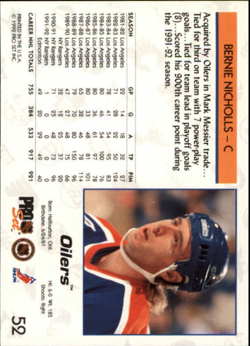 1992-93 Pro Set #52 Bernie Nicholls back image
