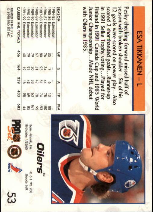 1992-93 Pro Set #53 Esa Tikkanen back image