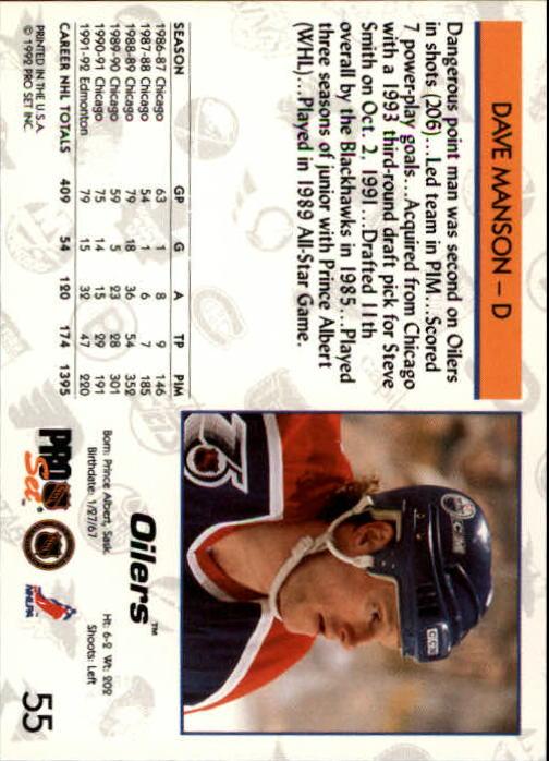 1992-93 Pro Set #55 Dave Manson back image
