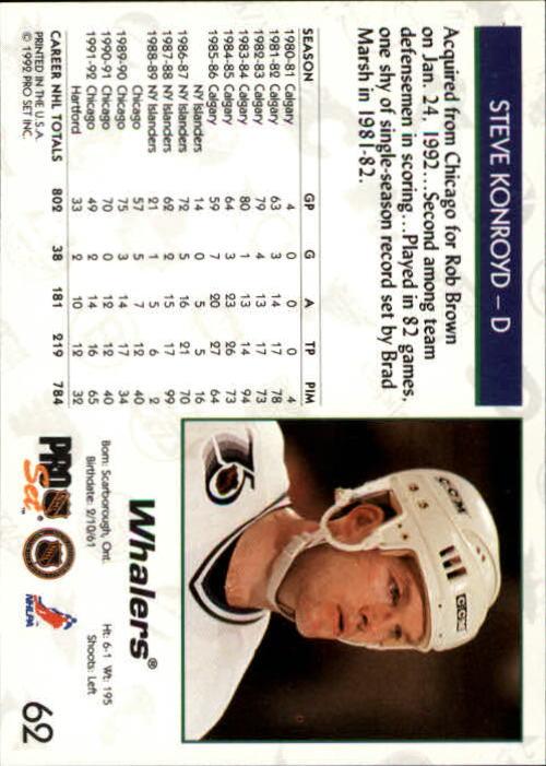 1992-93 Pro Set #62 Steve Konroyd back image