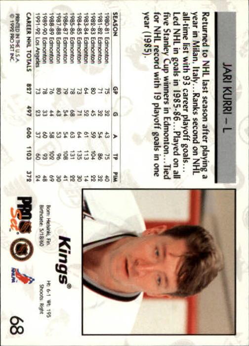 1992-93 Pro Set #68 Jari Kurri back image