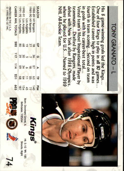 1992-93 Pro Set #74 Tony Granato back image