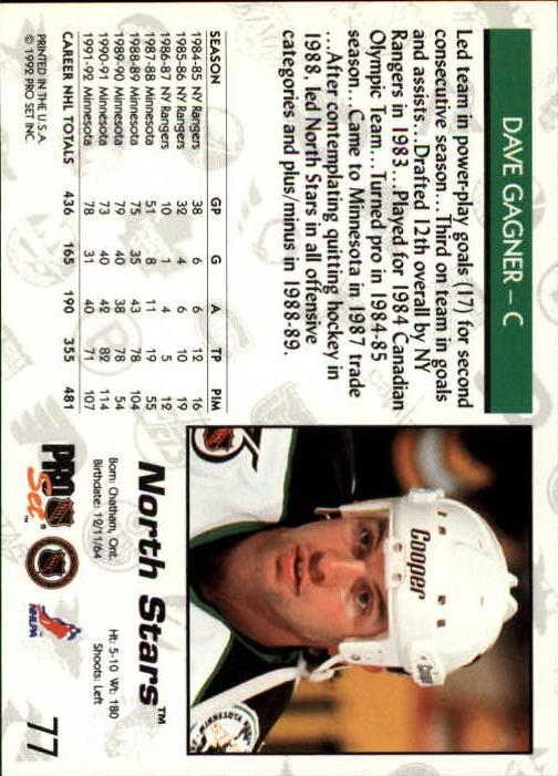 1992-93 Pro Set #77 Dave Gagner back image