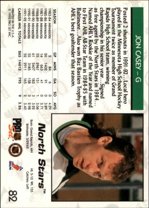 1992-93 Pro Set #82 Jon Casey back image