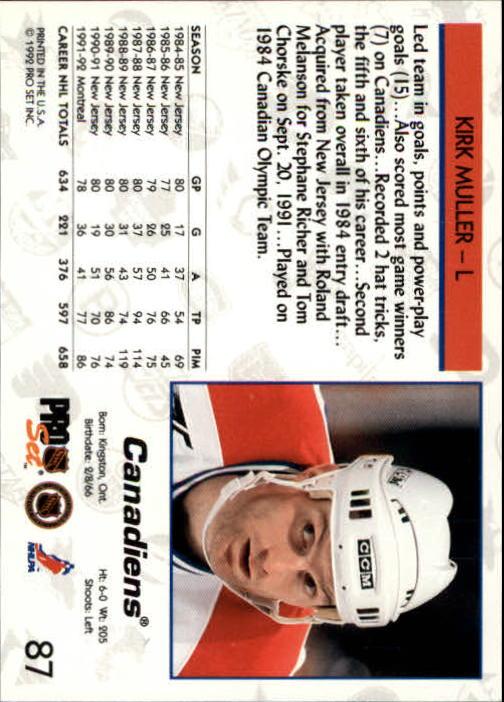 1992-93 Pro Set #87 Kirk Muller back image