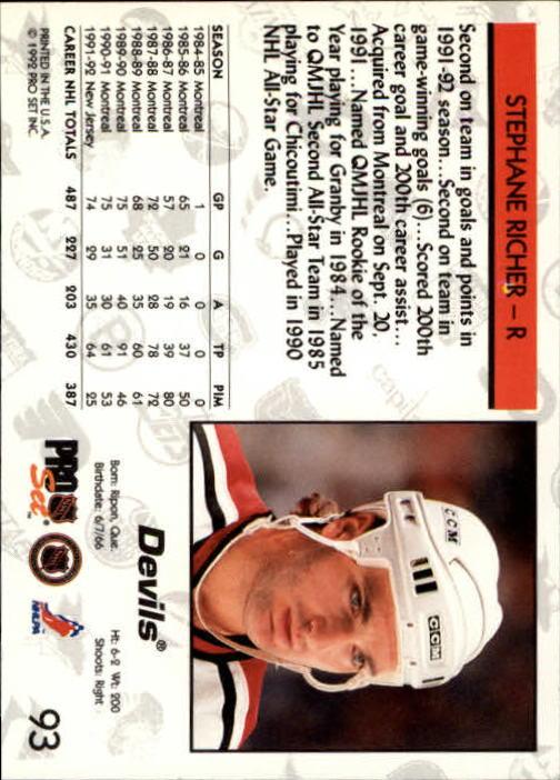 1992-93 Pro Set #93 Stephane Richer back image