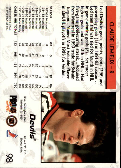 1992-93 Pro Set #98 Claude Lemieux back image