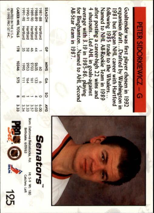 1992-93 Pro Set #125 Peter Sidorkiewicz back image