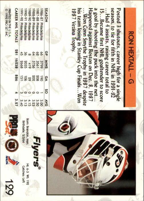1992-93 Pro Set #129 Ron Hextall back image