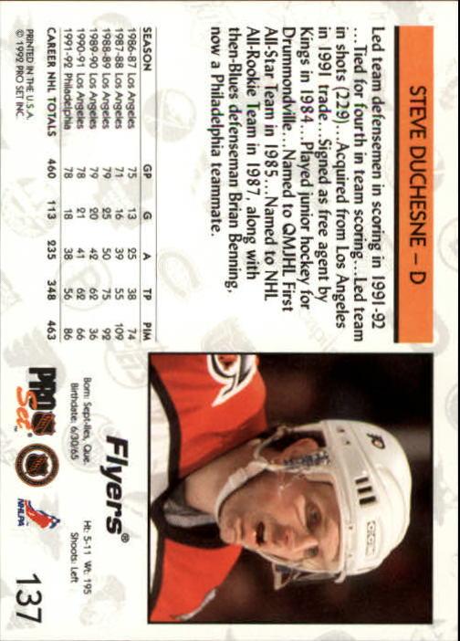 1992-93 Pro Set #137 Steve Duchesne back image