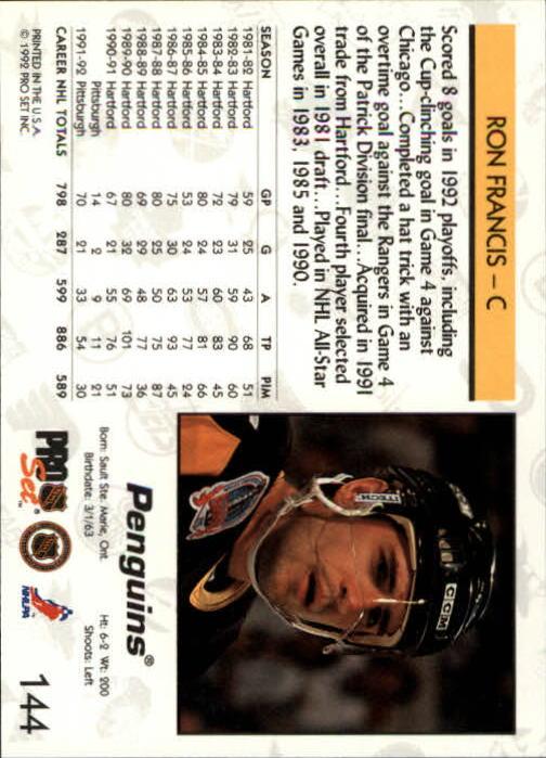 1992-93 Pro Set #144 Ron Francis back image