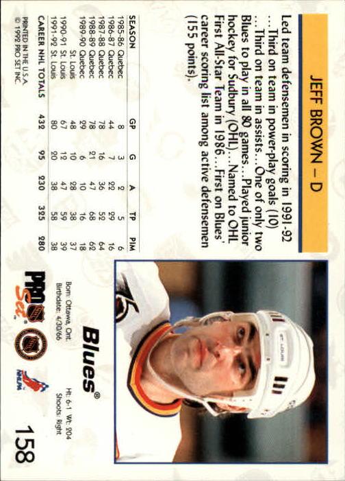 1992-93 Pro Set #158 Jeff Brown back image