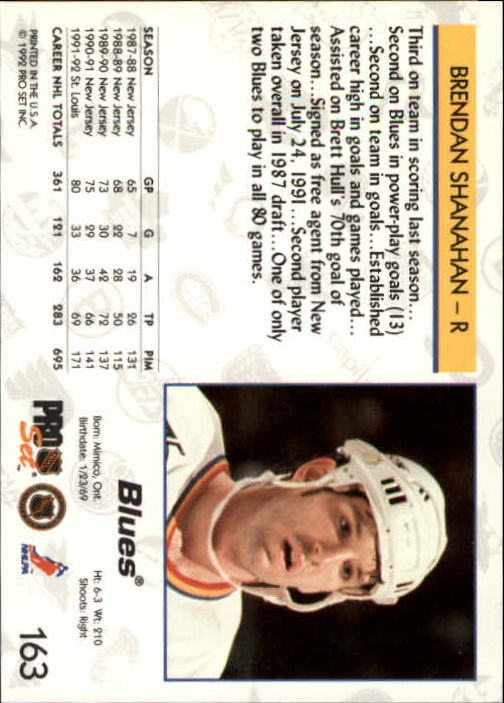 1992-93 Pro Set #163 Brendan Shanahan back image