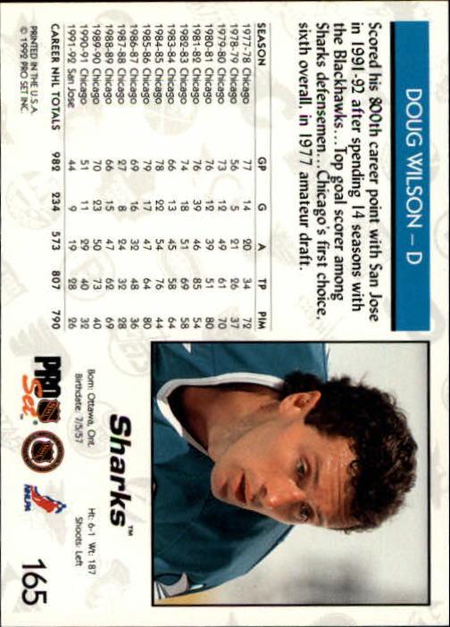 1992-93 Pro Set #165 Doug Wilson back image