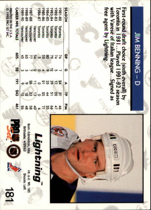 1992-93 Pro Set #181 Jim Benning back image