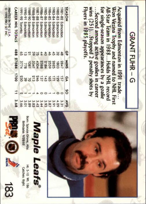 1992-93 Pro Set #183 Grant Fuhr back image