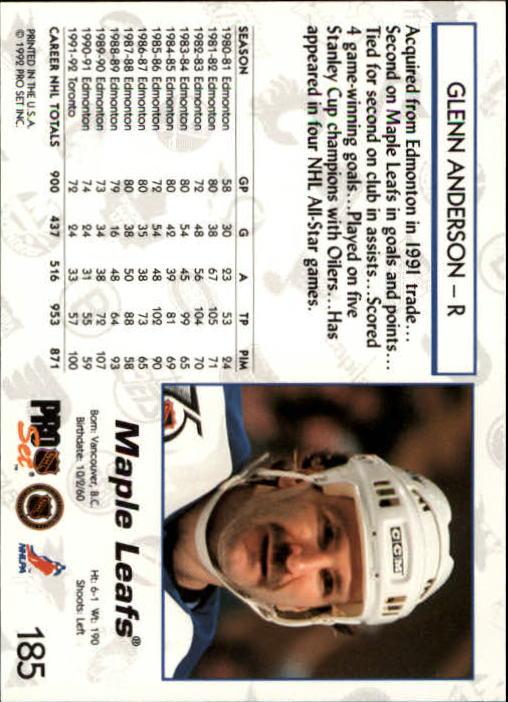 1992-93 Pro Set #185 Glenn Anderson back image