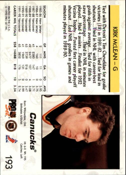 1992-93 Pro Set #193 Kirk McLean back image