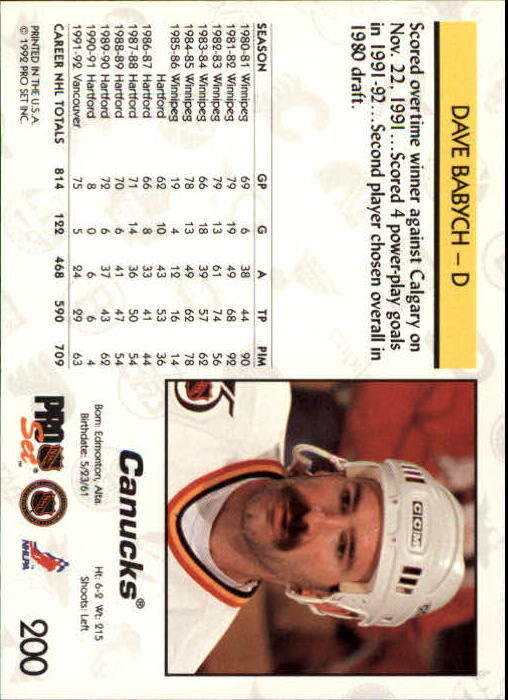 1992-93 Pro Set #200 Dave Babych back image