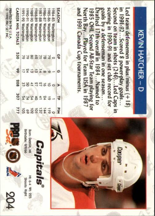 1992-93 Pro Set #204 Kevin Hatcher back image