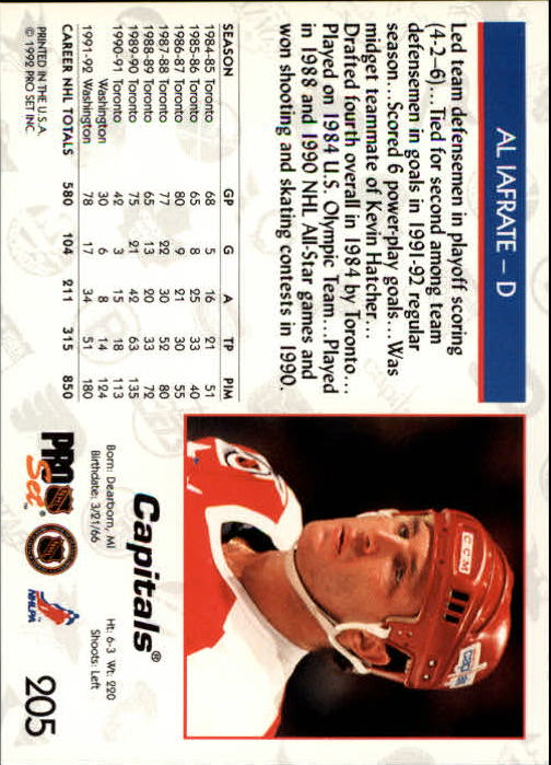 1992-93 Pro Set #205 Al Iafrate back image
