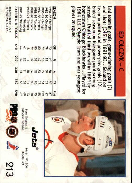 1992-93 Pro Set #213 Ed Olczyk back image