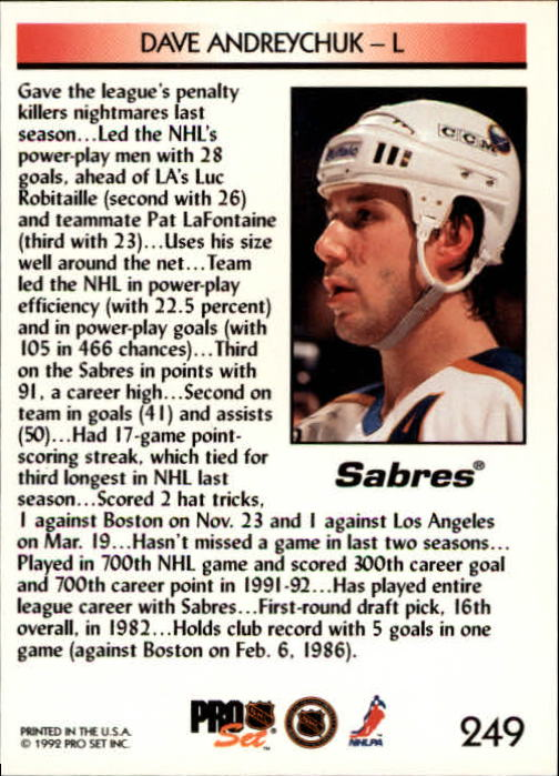 1992-93 Pro Set #249 Dave Andreychuk SL back image