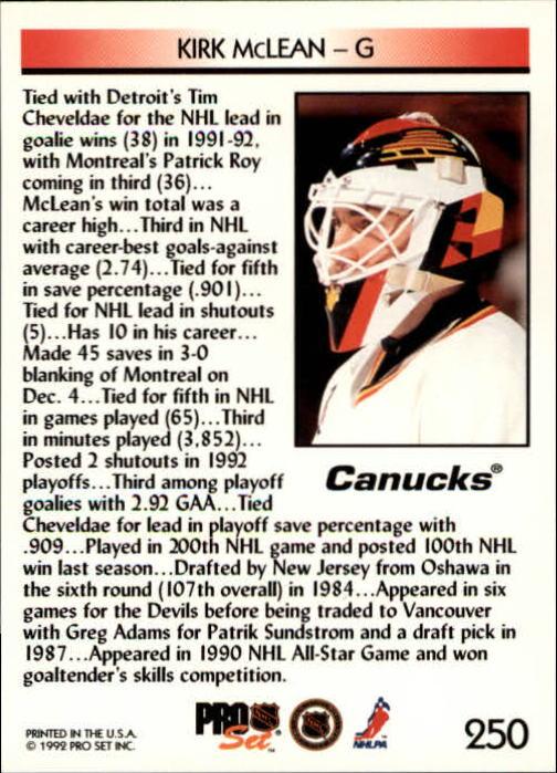 1992-93 Pro Set #250 Kirk McLean LL back image
