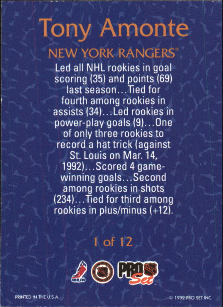 1992-93 Pro Set Rookie Goal Leaders #1 Tony Amonte back image