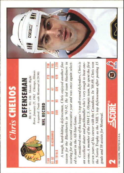 1992-93 Score #2 Chris Chelios back image