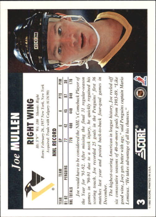 1992-93 Score #3 Joe Mullen back image