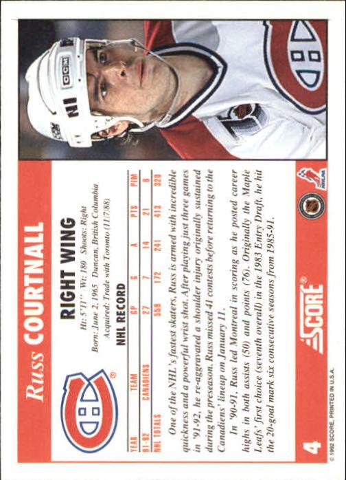 1992-93 Score #4 Russ Courtnall back image