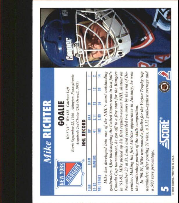 1992-93 Score #5 Mike Richter back image