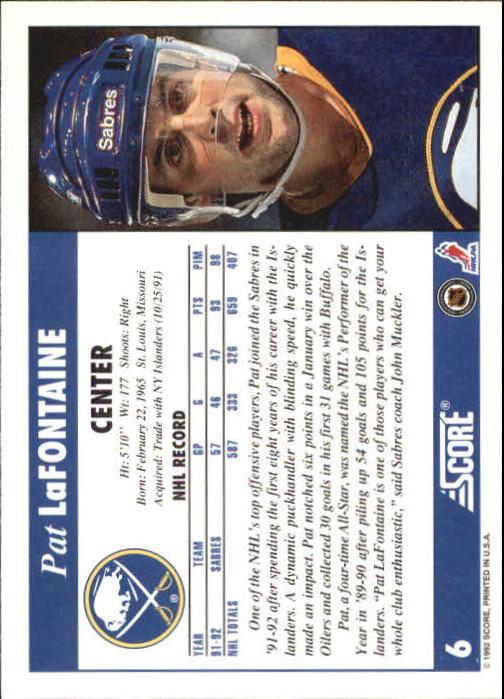 1992-93 Score #6 Pat LaFontaine back image