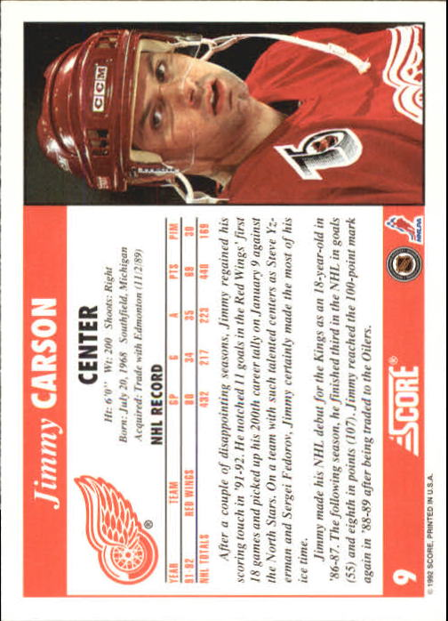 1992-93 Score #9 Jimmy Carson back image