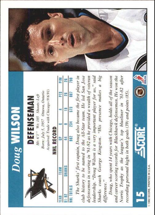 1992-93 Score #15 Doug Wilson back image