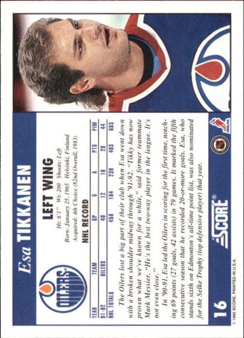 1992-93 Score #16 Esa Tikkanen back image