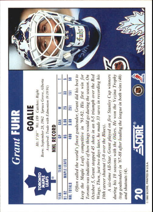 1992-93 Score #20 Grant Fuhr back image