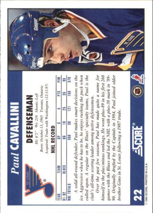 1992-93 Score #22 Paul Cavallini back image