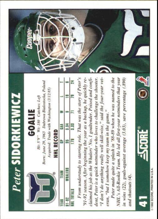 1992-93 Score #41 Peter Sidorkiewicz back image